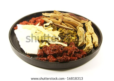 Traditional Chinese Herbs Combination of Spices for Healing Soup - stock photo