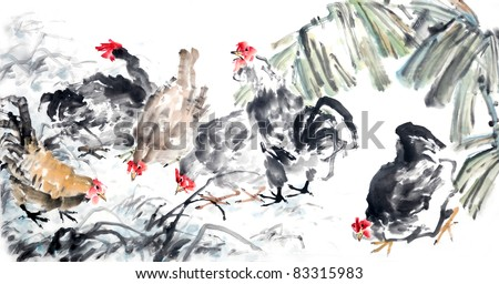 Traditional Chinese ink and wash painting.
