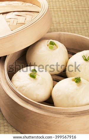 Traditional Chinese meal of baozi also known as dim sun - stock photo