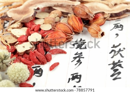 Traditional Chinese medicine with prescription - stock photo