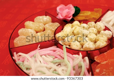 Traditional Chinese New Year candy box - stock photo