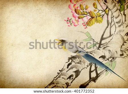 Traditional Chinese painting of flowers and two birds on tree - stock photo
