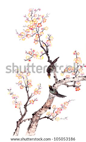 Traditional Chinese painting of flowers, plum blossom and two birds on tree, white background. - stock photo