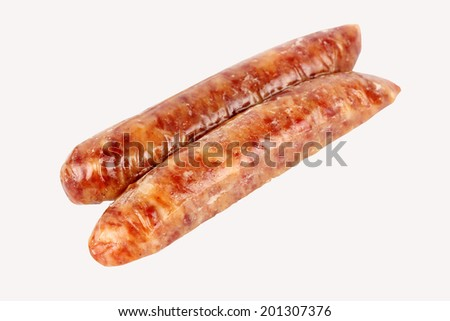 Traditional Chinese Sausages isolate on white background with paths