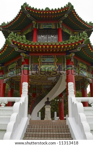 Traditional chinese style building at a temple - stock photo