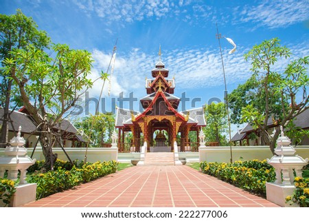 Traditional Chinese style temple in Nonthaburi,Thailand - stock photo