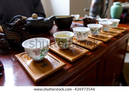 Traditional chinese tea ceremony set up.