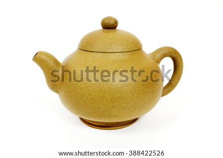 Traditional chinese tea pot on a white background