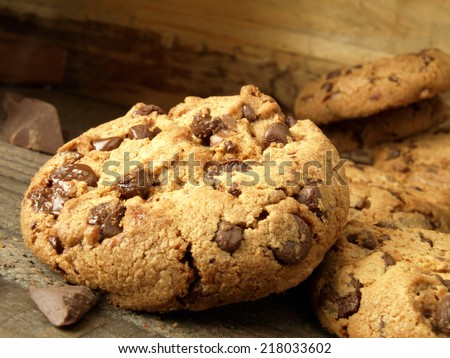 Traditional chocolate chip cookies baked at home - stock photo
