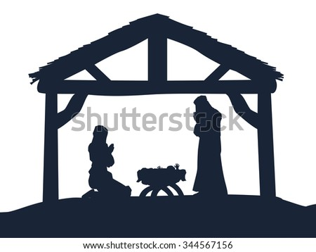 Traditional Christian Christmas Nativity Scene of baby Jesus in the manger with Mary and Joseph in silhouette - stock photo