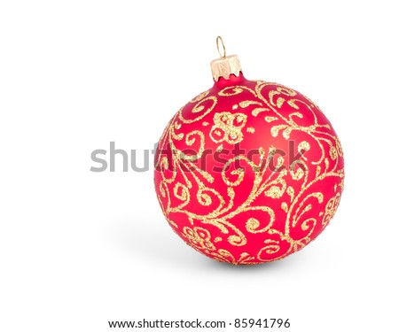 Traditional Christmas ball isolated on white background - stock photo