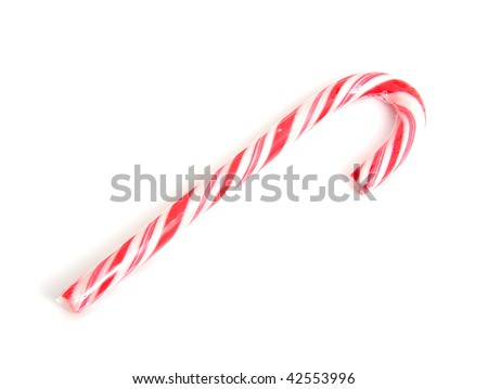traditional christmas candy cane over white background