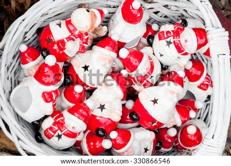 Traditional Christmas decorations on Christmas market - stock photo