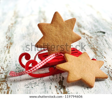 Traditional Christmas gingerbread cookie - stock photo