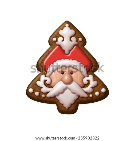traditional Christmas gingerbread cookie illustration, isolated object, Santa Claus, fir tree shape - stock photo