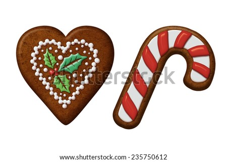 traditional Christmas gingerbread cookies illustration, isolated objects, heart, candy cane - stock photo