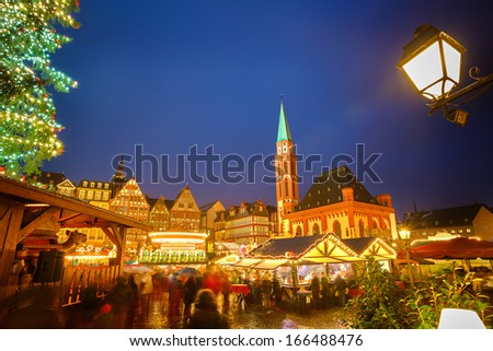 Traditional christmas market in Frankfurt, Germany - stock photo