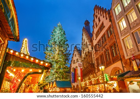 Traditional Christmas market on Roemer platz in Frankfurt, Germany - stock photo