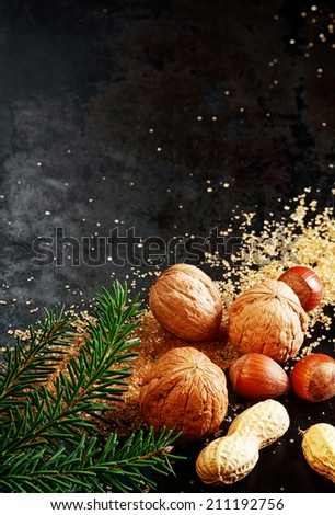 Traditional Christmas nuts with whole almonds, hazelnuts and peanuts in their shells on a dark background with scattered sugar crystals and pine foliage , with copyspace - stock photo