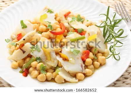 traditional christmas portuguese dish -boiled cod fish with chickpeas-mediterranean diet - stock photo