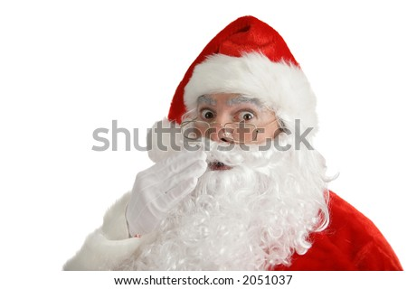 Traditional Christmas Santa Claus looking very shocked. Isolated on white