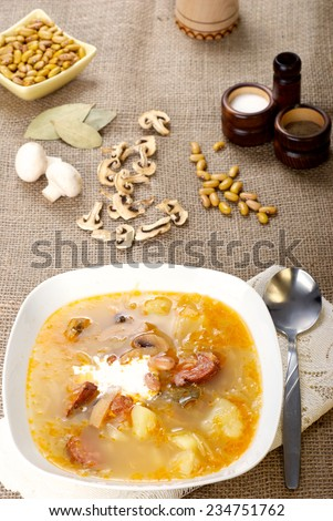 Traditional Christmas Slovak Cabbage soup - stock photo