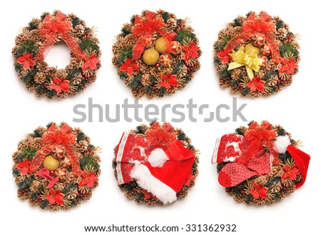 Traditional christmas wreath collection isolated on white - stock photo
