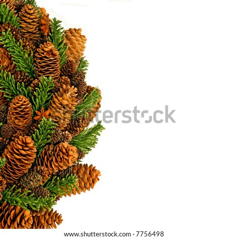 Traditional Christmas wreath made from pine cones - stock photo