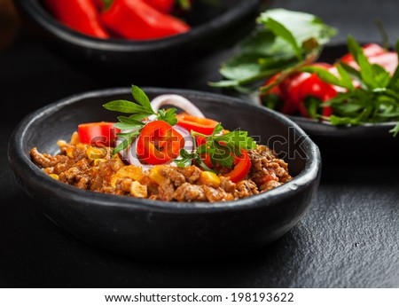Traditional  cilli con carne cooked in the pan - stock photo