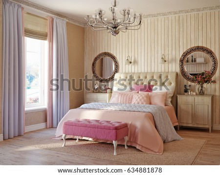 Traditional classic modern provence rustic bedroom interior design 3d rendering