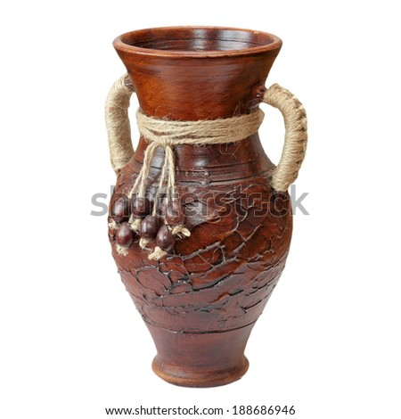 traditional clay brown vase isolated over white background - stock photo