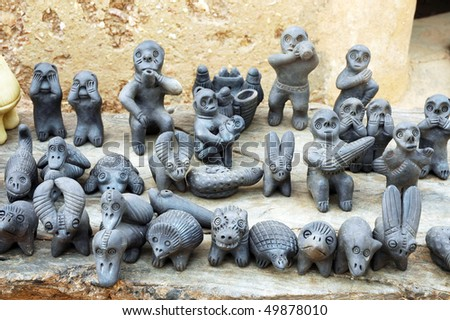 Traditional clay statues of the Somba in Benin - stock photo