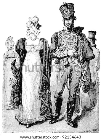 "Traditional clothing of the time of Napoleon I. Hussar and a woman together. Publication of the book ""A Century in the text and pictures"", Berlin, Germany, 1899"