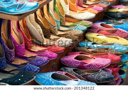 Traditional colorful Arabic slippers - stock photo