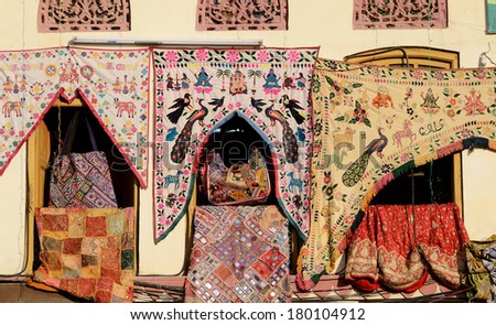 Traditional colorful indian fabric textile,Rajasthan, India - stock photo