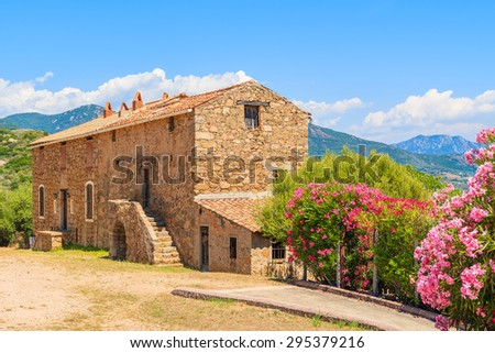 Traditional Corsican house built from stones on southern coast of Corsica island, France - stock photo