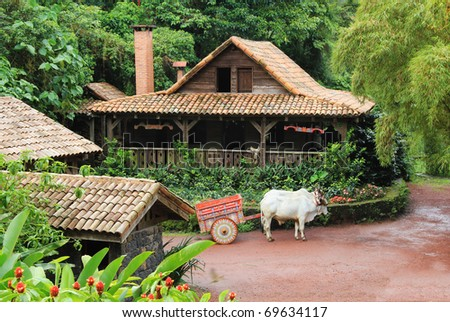 Traditional Costa Rican home with ox and cart - stock photo