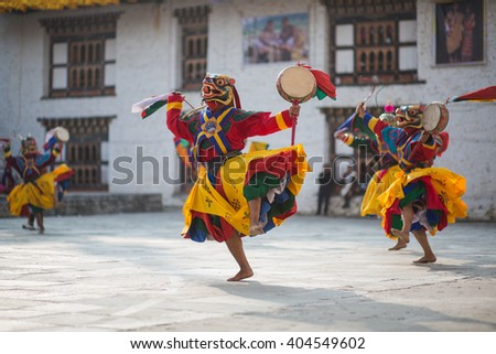 Traditional dance and colors in Mongar, Bhutan - stock photo