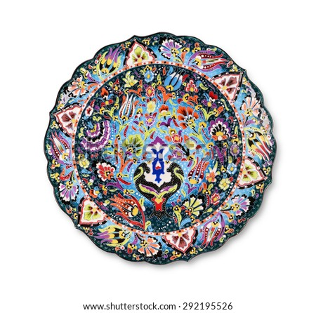 Traditional decorative ceramic plate  - stock photo
