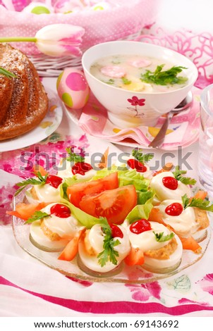 traditional  dishes for polish easter breakfast on festive table - stock photo