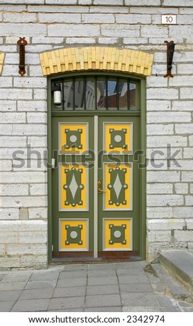 Traditional door in Tallinn, Estonia - stock photo