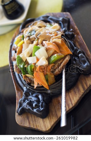 Traditional duck chop suey in restaurant close up - stock photo