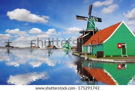 Traditional Dutch windmills with canal close the Amsterdam, Holland - stock photo