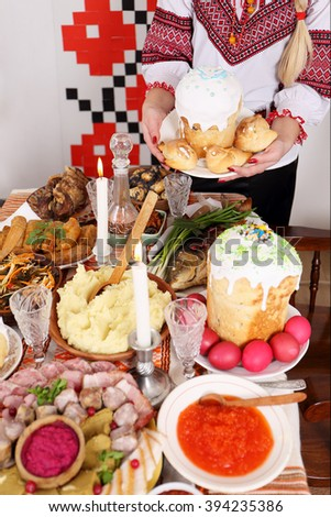 Traditional Easter Slavic holiday table with snacks - stock photo