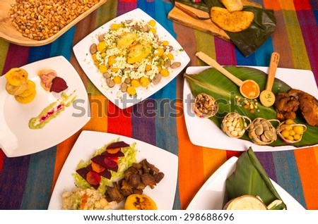 traditional ecuatorian dishes on a trable - stock photo