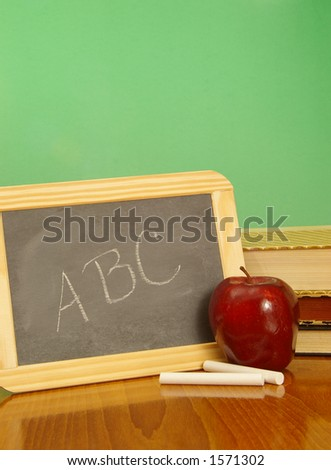 Traditional education symbols. Vertical format. - stock photo