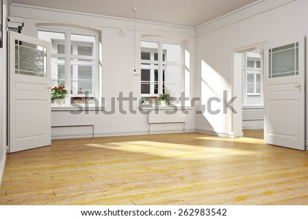 Traditional empty interior of an apartment or home.Photo realistic 3d interior scene  - stock photo