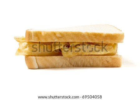 Traditional English chip sandwich isolated on white.
