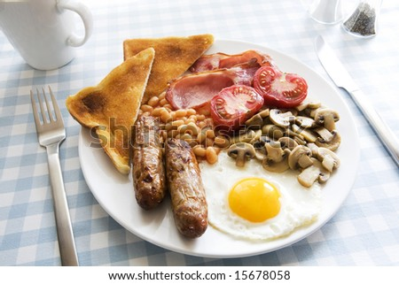 Traditional English cooked breakfast on plate - stock photo