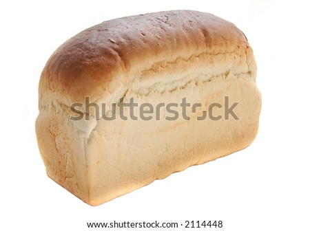 Traditional English tin loaf, isolated over white, macro close-up